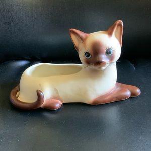 Mid Century Siamese Ceramic Cat Planter Japan